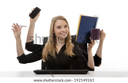 busy business woman multitasking in the office with four arms - stock photo