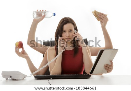 busy business woman multitasking in the office with six arms - stock photo