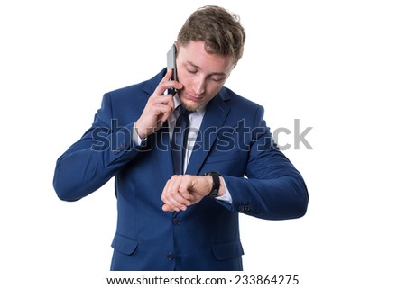Busy businessman - stock photo