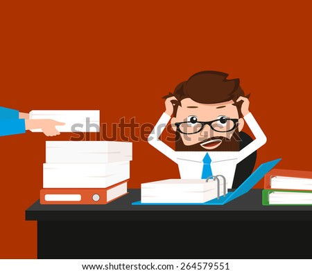 Busy businessman has a lot work. Conceptual illustration. - stock photo