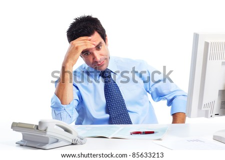 Busy businessman having headache. Isolated over white background - stock photo