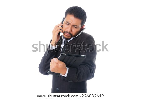 Busy Businessman, isolated on the white background. - stock photo