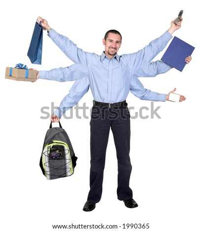 busy businessman over a white background - 6 arms showing all the tasks he has to do - stock photo