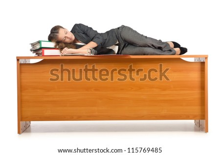 Busy businesswoman isolated on the white - stock photo