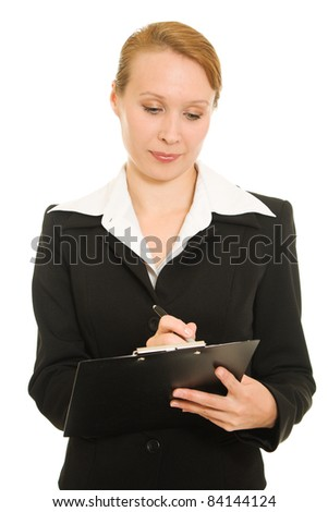 Busy businesswoman on a white background.