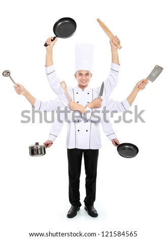 Busy chef concept with many hand isolated on white background - stock photo