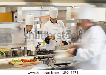 Restaurant Kitchen Chefs busy chefs work restaurant kitchen stock photo 139241474