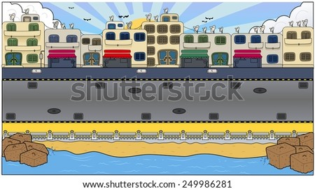 Busy City Background - stock photo