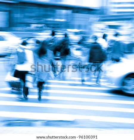 busy city pedestrian people crowd on  road abstract - stock photo