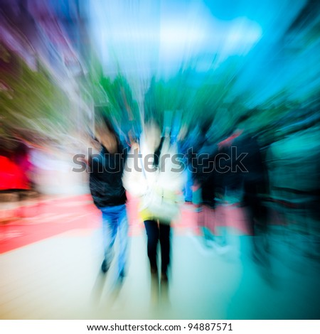 busy city pedestrian people crowd on street road abstract, zoom in blur motion - stock photo