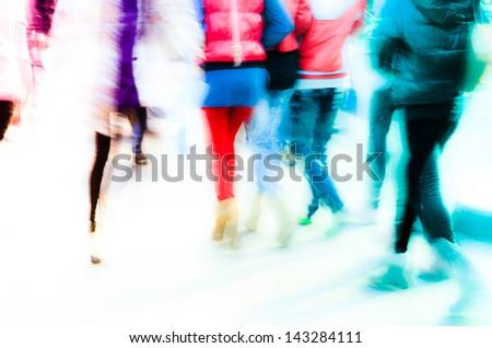 busy city pedestrian people crowd walk on road zebra crossing - stock photo