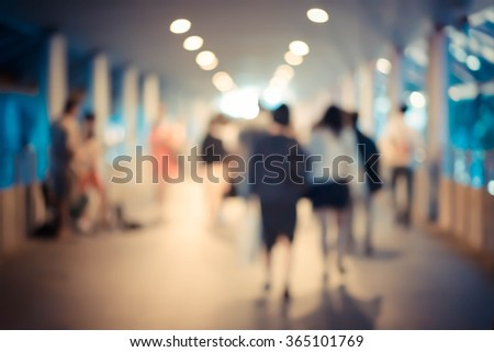 Busy city street people  - stock photo