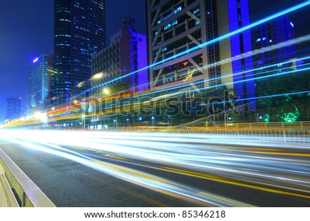 Busy city traffic and urban landscape