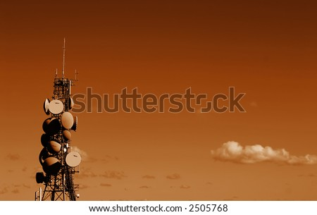 Busy Communications Tower Landscape - stock photo