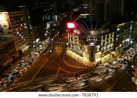 Busy Downtown Road in Kiev - stock photo