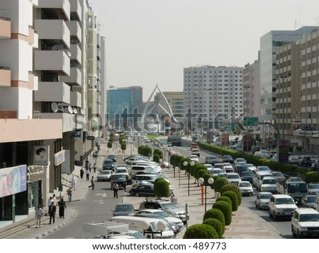 busy dubai road during peek hours - stock photo