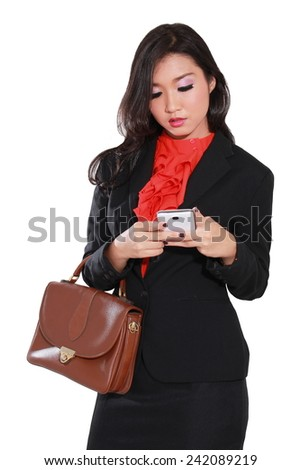 busy entrepreneurs are playing phone, isolated on white background - stock photo
