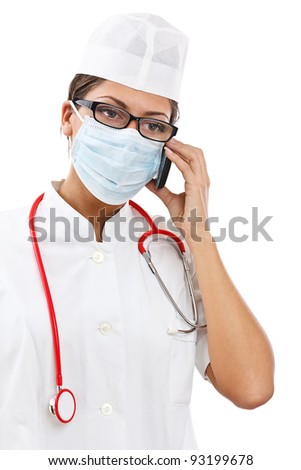 busy female doctor in uniform talking on the phone, isolated on white background - stock photo