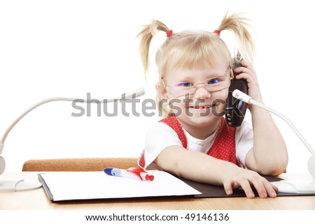 busy girl - stock photo
