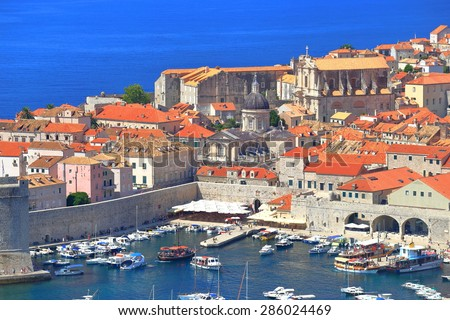 Busy harbor of the old town of Dubrovnik, Croatia