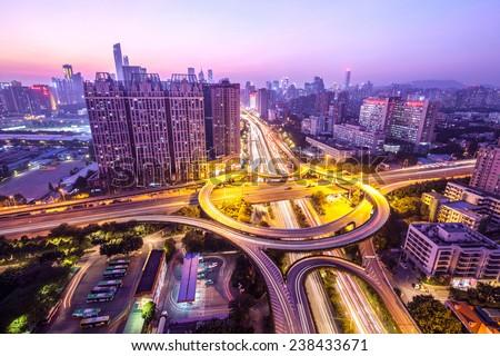 Busy highway interchange, China  - stock photo