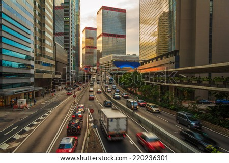 Busy Highway Urban Road As Sunset In Hong Kong City
