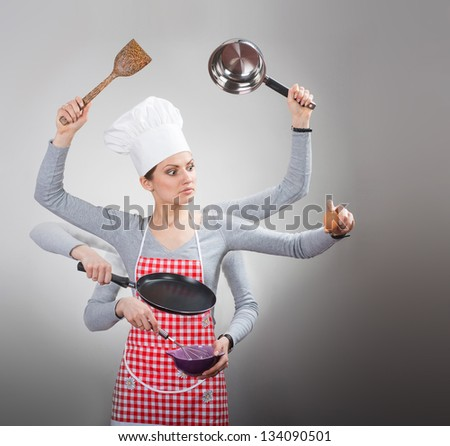 Busy housewife concept with many hand on grey background