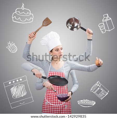 Busy housewife concept with many hands and with the drawn ingredients on grey background - stock photo