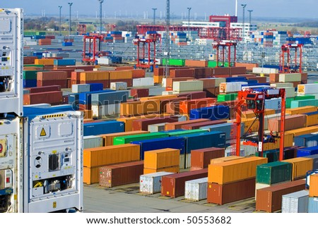 Busy Industrial Shipping Terminal in Germany, Bremerhaven (all trademarks erased) - stock photo