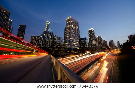 Busy Los Angeles at night - stock photo