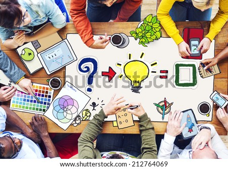 Busy Multiethnic Group of People Working in Illustration - stock photo