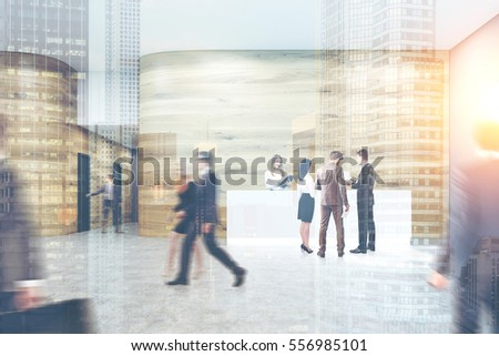 Busy office. People are walking, entering doors in a corridor, talking and discussing work issues. Wooden walls, concrete floor. 3d rendering. Mock up. Toned image. Double exposure