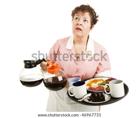 Busy overworked waitress carrying her tray and coffee pots.  Isolated on white. - stock photo