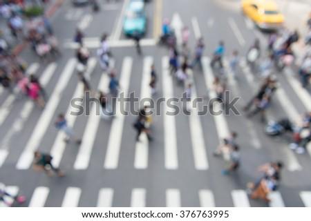 Busy pedestrian crossing at TAIPEI - stock photo