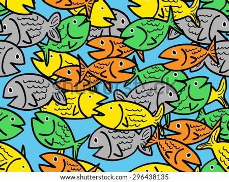 Busy seamless pattern of fun colorful cartoon fish - stock photo