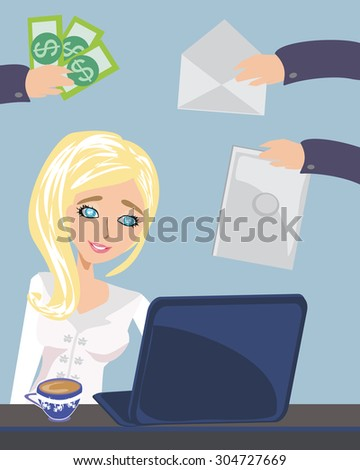 Busy secretary woman managing her work - stock photo