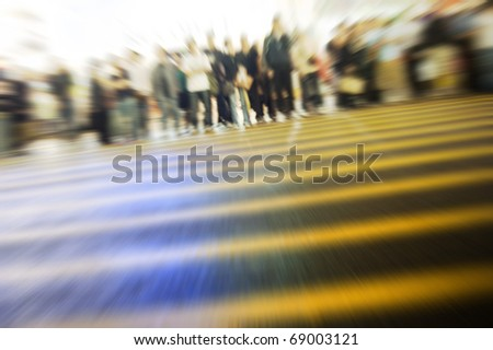 Busy street in Hong Kong. Purposely blurred with a lens. - stock photo