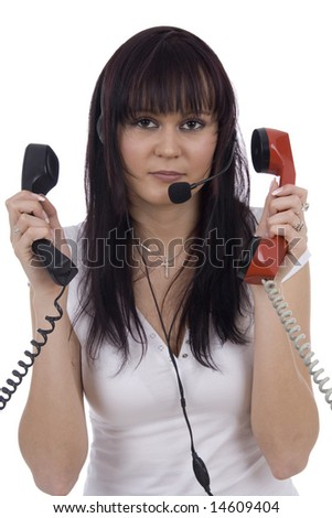 Busy telephonist by three headphones on white background