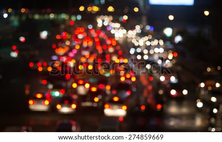 Busy Thoroughfare during rush hour in Bangkok, Thailand. Blurred Background. - stock photo