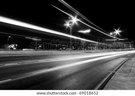 Busy traffic in Hong Kong in black and white - stock photo