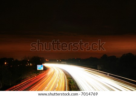 busy traffic motion blur - stock photo