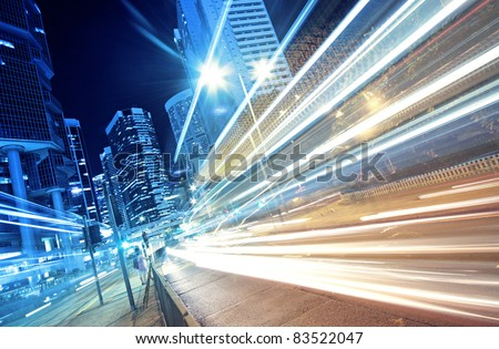 busy traffic night in finance urban - stock photo