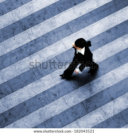 Busy walk scene on the stripped floor - stock photo