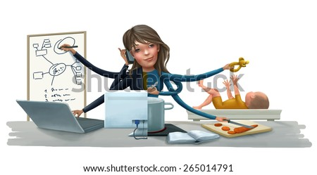 Busy woman doing simultaneously many tasks: cooking, reading, working, baby caring and talking on the phone. Modern mother concept.  - stock photo