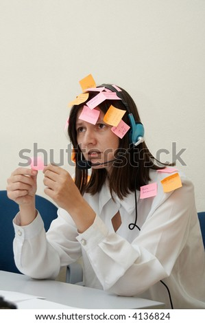 Busy Woman in melancholy and depression - stock photo