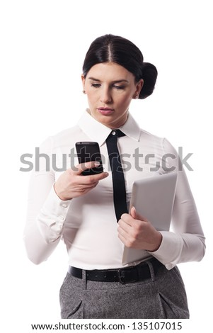 Busy woman with a phone and digital tablet