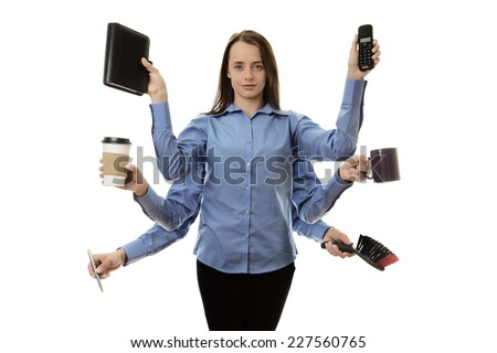 busy woman with many arms multitasking concept - stock photo