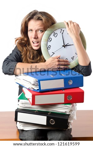 Busy woman worker in the office - stock photo