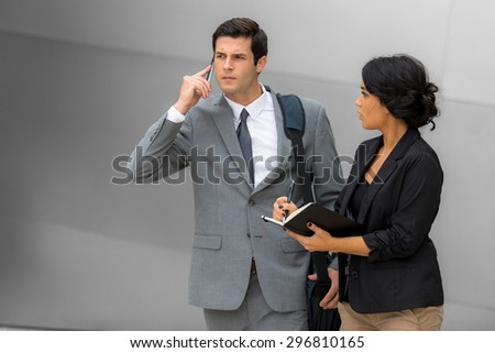 Busy work day overwhelmed stock business finance attorney couple man and woman