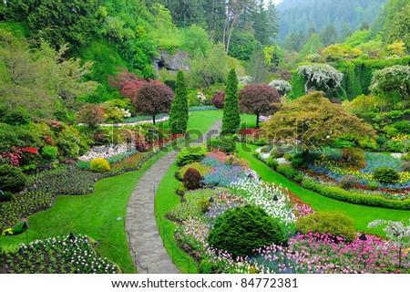 butchart garden in spring, victoria, british columbia, canada - stock photo